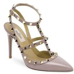Valentino Rockstud Leather Ankle-Strap Pumps