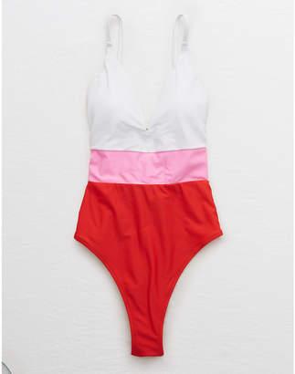 aerie Plunge Color Block One Piece Swimsuit