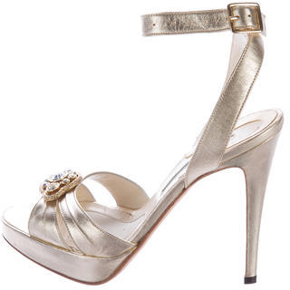 Brian Atwood Embellished Metallic Sandals $110 thestylecure.com