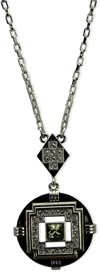 T Tahari Necklace, Silver-Tone Jet Crystal Definitely Deco Pendant
