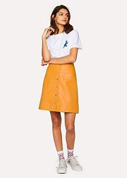 Paul Smith Women's Burnt Yellow Leather Button Down Mini Skirt