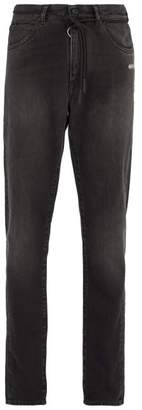 Off-White Off White Shoelace Belt Slim Leg Jeans - Mens - Grey