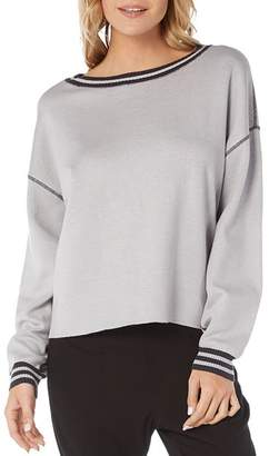 Michael Stars Stripe-Trim Reversible Sweatshirt