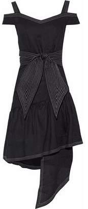 Paper London Cold-Shoulder Asymmetric Knotted Linen Dress
