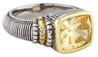 Judith Ripka Two-Tone Canary Crystal & Diamond Ring
