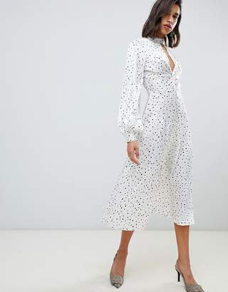 72b92c5a3d822 Asos Design DESIGN high neck twist front 70s sleeve midi dress in spot