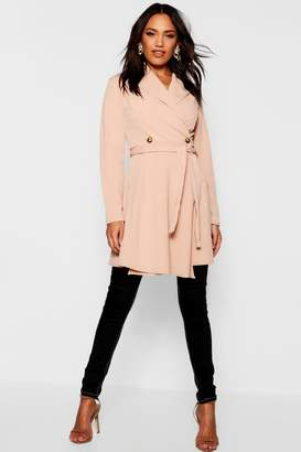 boohoo Wrap Over Button Detail Duster