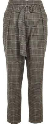 River Island Womens Grey check stripe side tapered pants