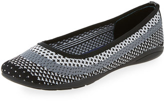 Adrienne Vittadini Moonstone Striped Knit Flat, White/Gray/Black $59 thestylecure.com
