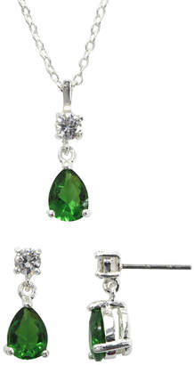 clear SPARKLE ALLURE Sparkle Allure & Green Cubic Zirconia and Crystal Necklace & Earring Set
