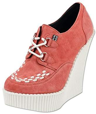 T.U.K. Shoes A8376L y Coral Suede Creeper Wedge