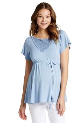 Jessica Simpson Motherhood Maternity Flutter Sleeve Maternity Shirt