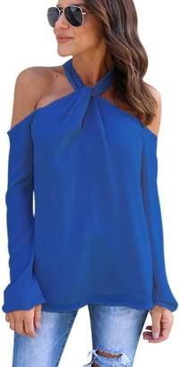 Kalin L Kalin Women's Chiffon Knot Neckline Cold Shoulder Halter T-shirt Long Sleeve Top