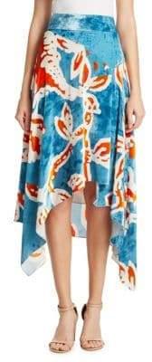 Peter Pilotto Printed Velvet Asymmetrical Skirt