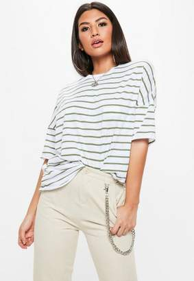 Missguided White Oversized Striped T-shirt