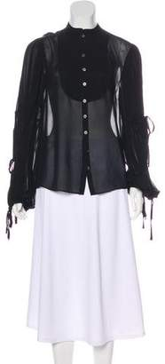 AllSaints Silk Long Sleeve Top