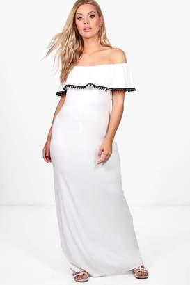 boohoo Plus Megan Off The Shoulder Pom Pom Maxi Dress