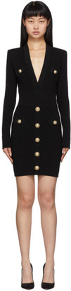 Balmain Black Knit Short Dress