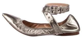 Valentino Leather Wrap-Around Flats Gold Leather Wrap-Around Flats