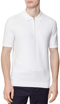 Reiss Freddy Honeycomb Half-Zip Polo Shirt
