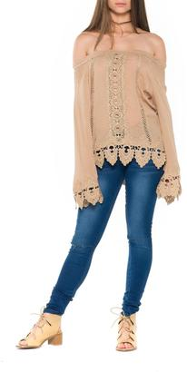 Bella Off Shoulder Crochet Top $66 thestylecure.com
