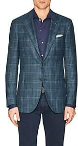 Isaia Men's Sanita Plaid Wool-Blend Two-Button Sportcoat - Olive