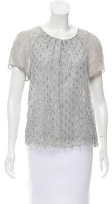 Peter Som Lace Short Sleeve Top