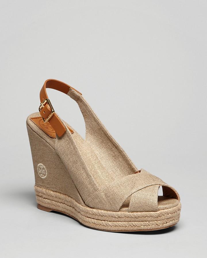 Tory Burch Peep Toe Platform Wedge Sandals - Beller Slingback