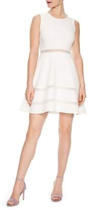 Sandro Bleu Gris Eyelet Fit & Flare Dress