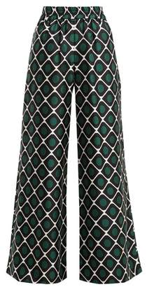 La Doublej - Palazzo Geometric Print Wide Leg Silk Trousers - Womens - Green Print