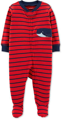 Carter's Baby Boys Whale Graphic Striped Footed Cotton Pajamas