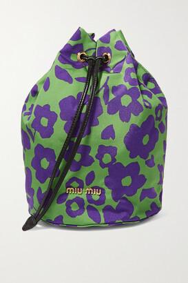 Miu Miu Leather-trimmed Floral-print Canvas Cosmetics Case