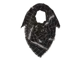Hat Attack Windowpane Scarf with Border Stripe Scarves