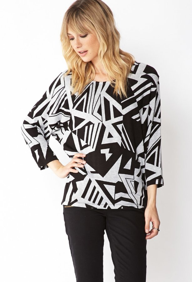 Forever 21 Contemporary Edgy Angles Dolman Top