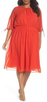 Maggy London Solid Gauze Smocked Waist Midi Dress (Plus Size)