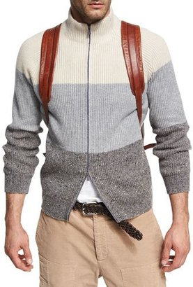 Brunello Cucinelli Donegal Colorblock Zip-Front Cardigan, Gray $1,875 thestylecure.com