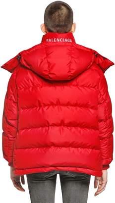 Balenciaga Logo Detail Hooded Nylon Down Jacket