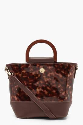 boohoo Resin Effect Bucket Bag & Wooden Handle