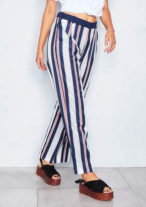 Missy Empire Missyempire Raelynn Navy Striped Straight Leg Trousers