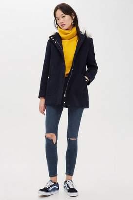 Topshop Womens Hooded Faux Fur Trim Coat