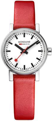 Mondaine evo2 Ladies Watch 26mm Stainless Steel Case, White Dial, Red Leather Strap