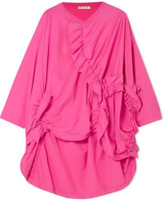 Marni Ruched Cotton-jersey T-shirt - Pink