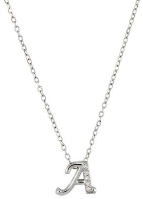 "Carriere Sterling Silver Diamond ""A\"" Initial Pendant Necklace - 0.03 ctw"