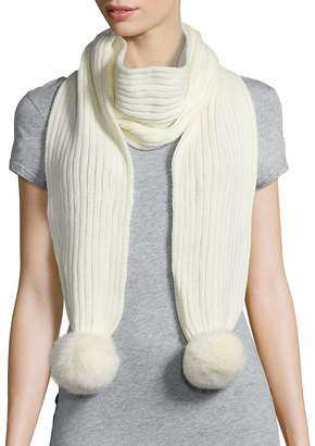Adrienne Landau Women's Ribbed Rabbit Fur Pom-Pom Scarf