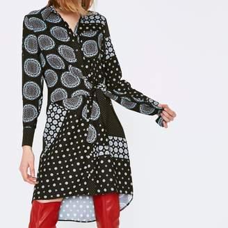 River Island Womens Navy mix tile print knot front shirt dress
