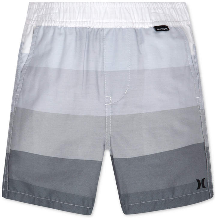 Block Stripe Pull-On Cotton Shorts, Little Boys