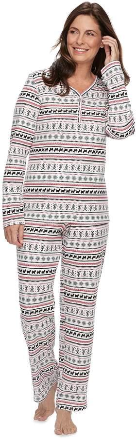 Petite Croft & Barrow Henley Tee & Pants Pajama Set