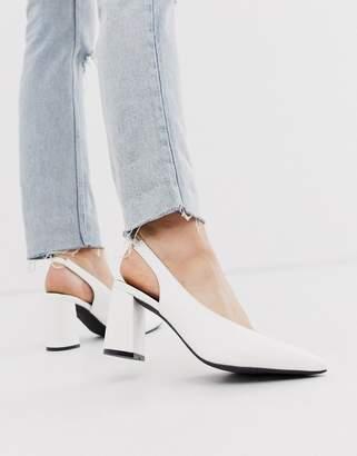 Glamorous white block heeled sling back shoes