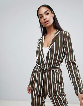 PrettyLittleThing Striped Belted Jacket