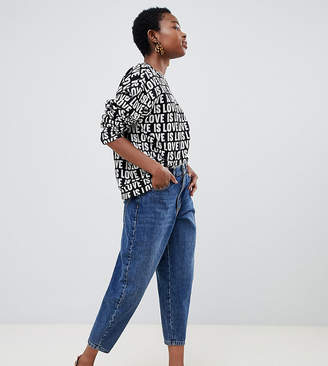 Asos DESIGN Petite balloon leg boyfriend jeans in dark blue wash
